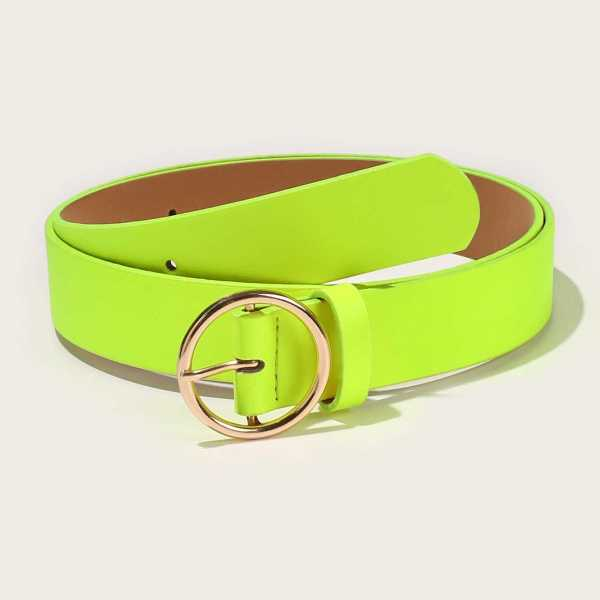 Guys O-ring Neon Green Buckle Belt in Green Bright by ROMWE on GOOFASH