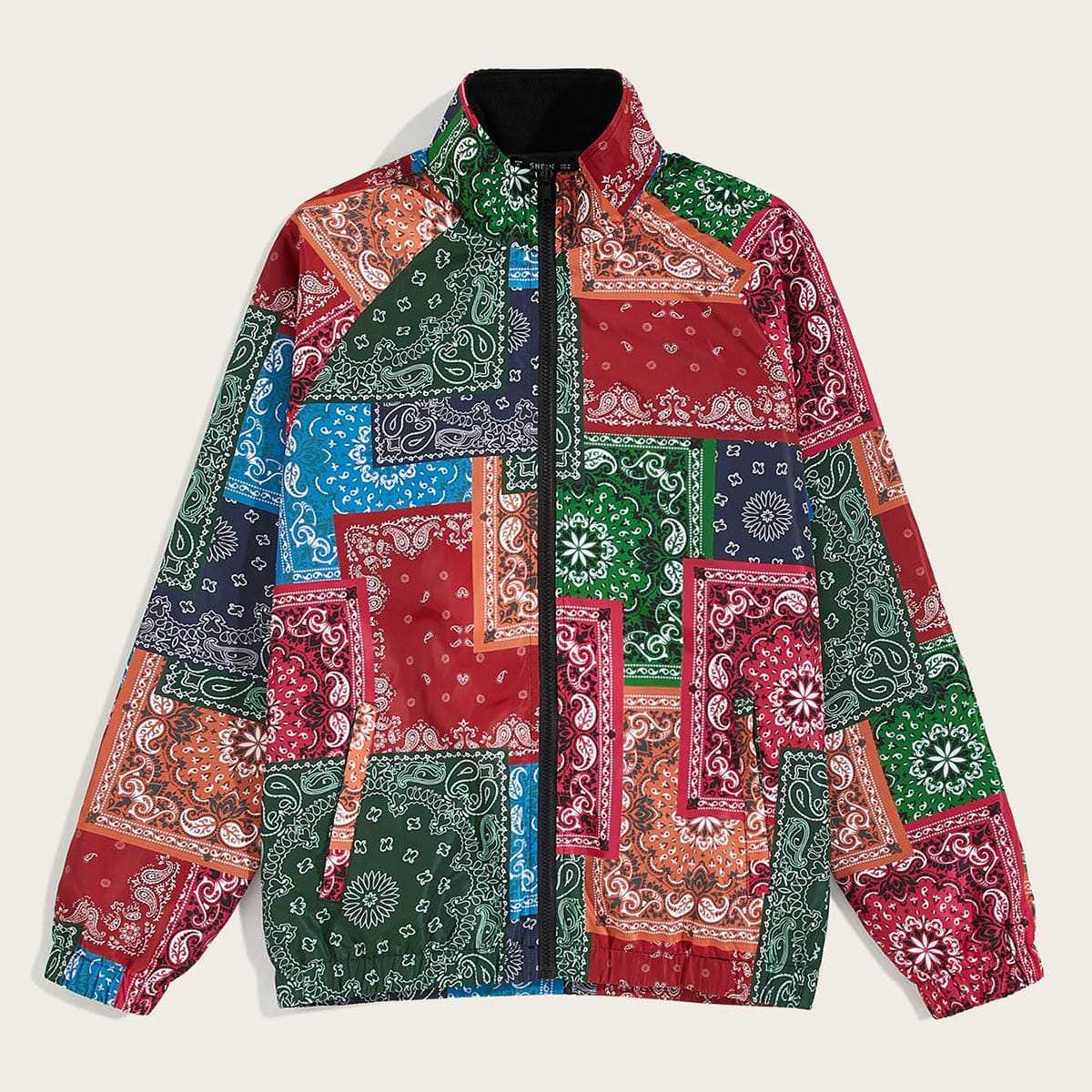 Guys Paisley and Tribal Print Raglan Sleeve Jacket in Multicolor by ROMWE on GOOFASH
