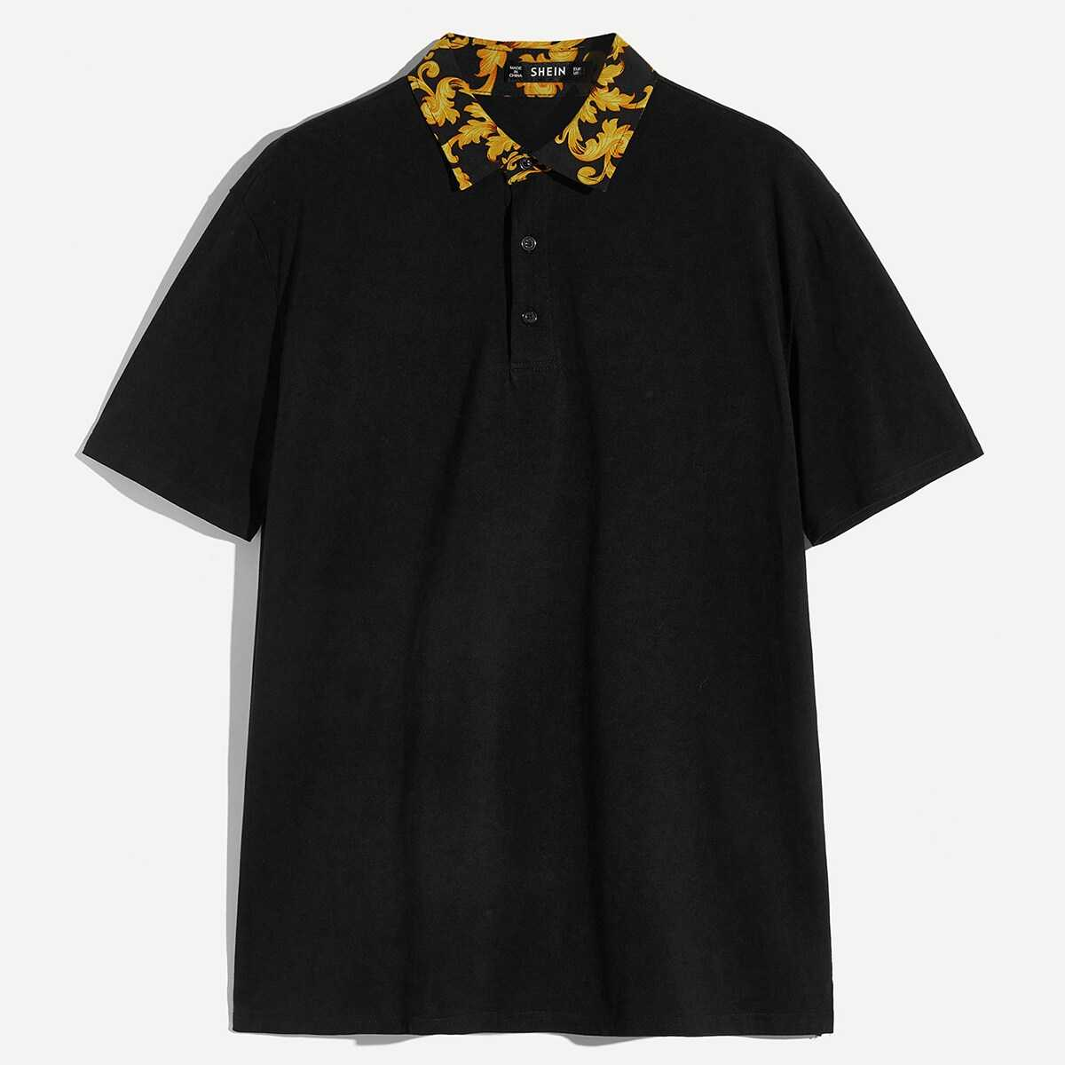 Guys Retro Print Collar Polo Shirt in Black by ROMWE on GOOFASH