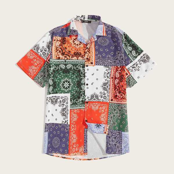 Guys Scarf Print Patchwork Shirt in by ROMWE on GOOFASH