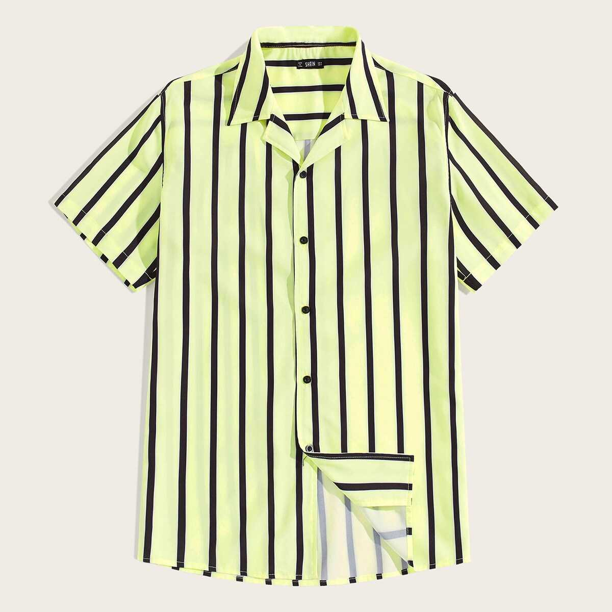Guys Single Breasted Notched Collar Striped Shirt in Yellow by ROMWE on GOOFASH