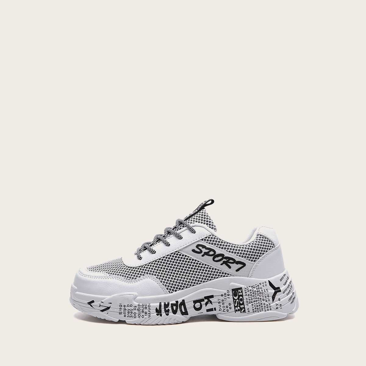 Guys Slogan Print Chunky Sole Trainers in Black and White by ROMWE on GOOFASH
