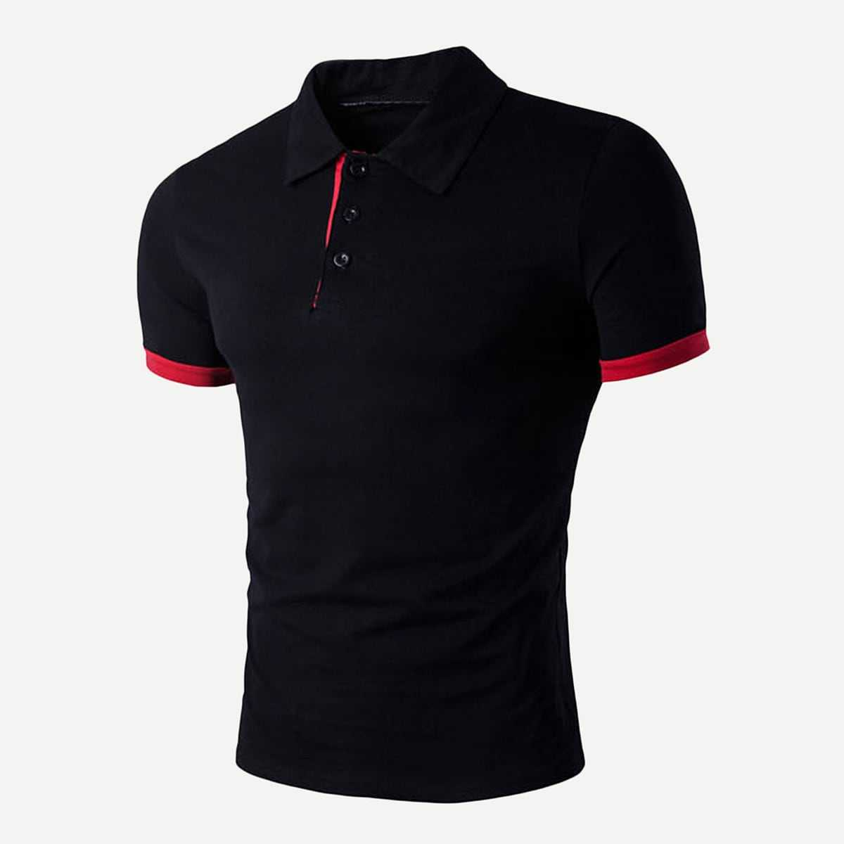 Guys Solid Polo Shirt in Black by ROMWE on GOOFASH