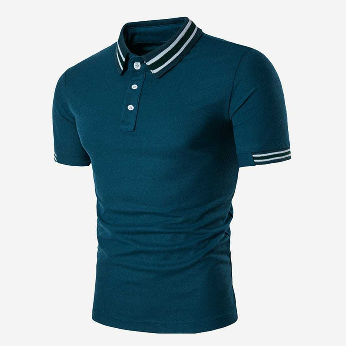 Guys Striped Detail Polo Shirt in Blue by ROMWE on GOOFASH