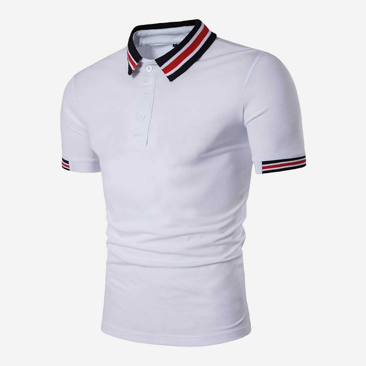 Guys Striped Detail Polo Shirt in White by ROMWE on GOOFASH