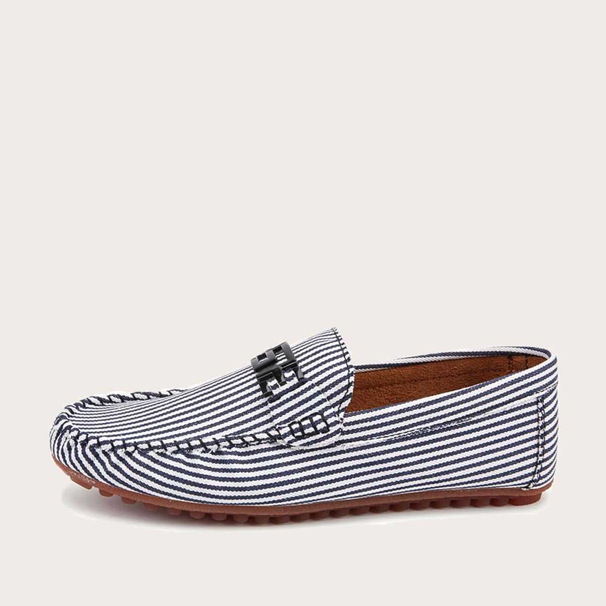 Guys Striped Slip On Loafers in Black and White by ROMWE on GOOFASH