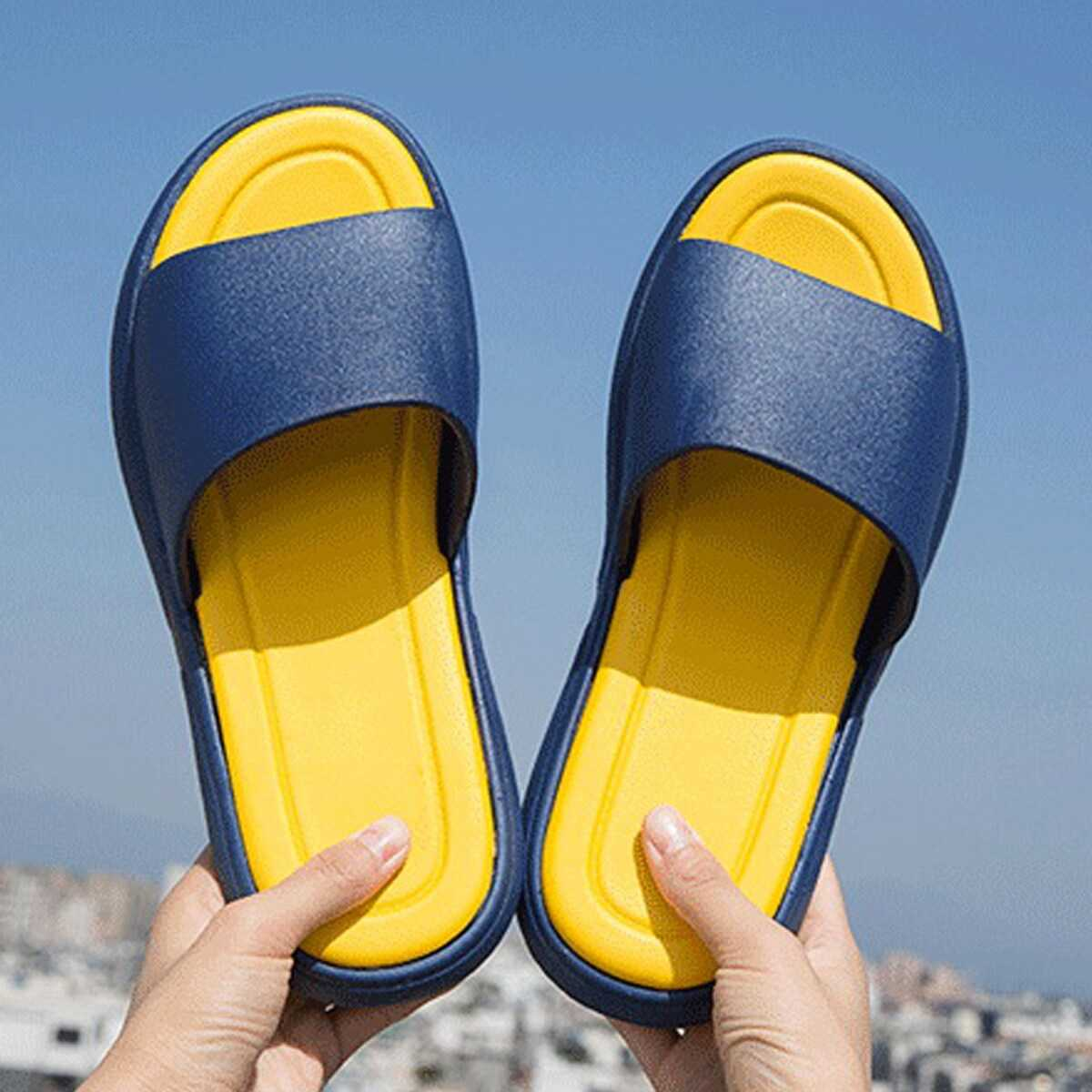 Guys Two Tone Open Toe Sliders in  by ROMWE on GOOFASH