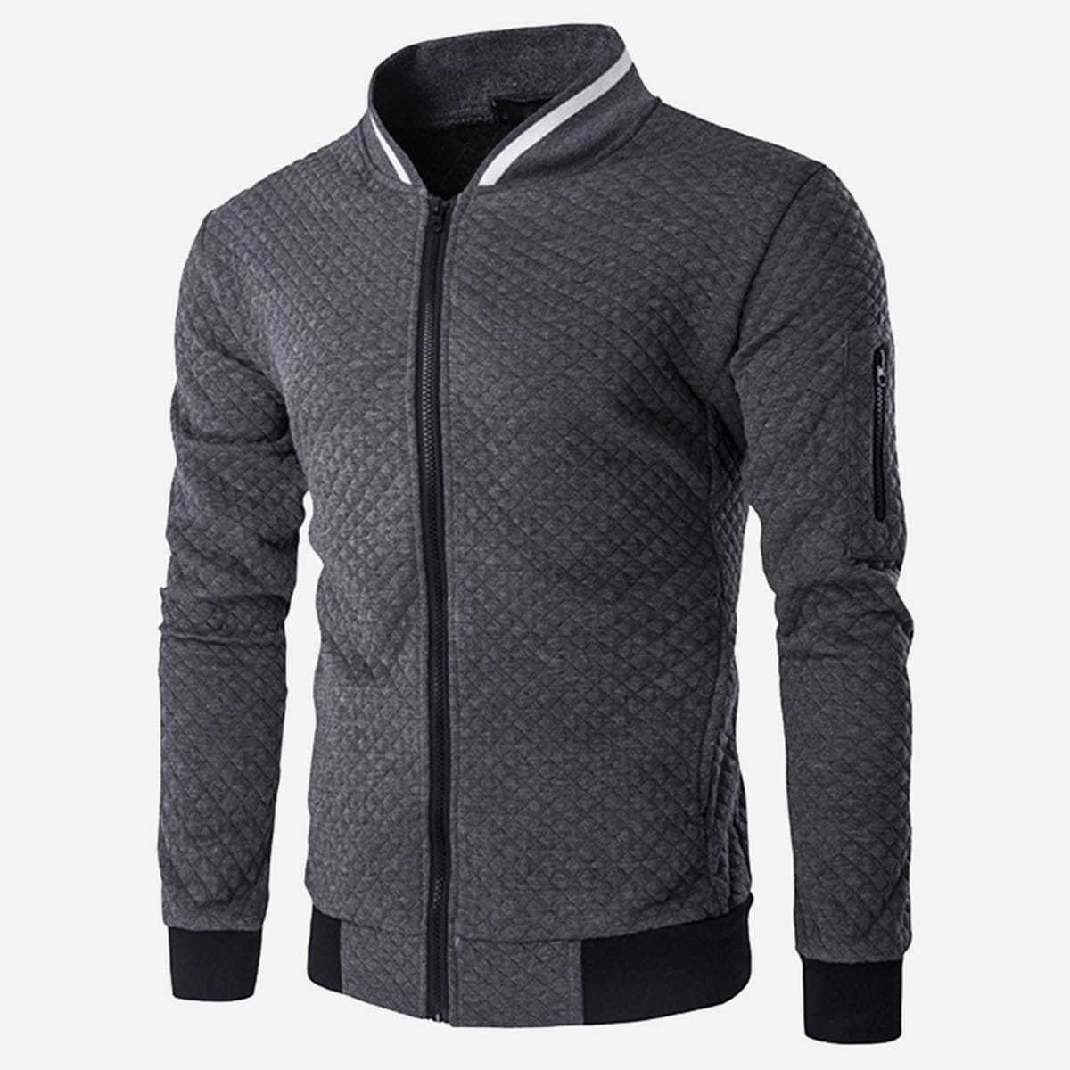 Guys Zipper Fly Stand Collar Bomber Jacket in Grey by ROMWE on GOOFASH