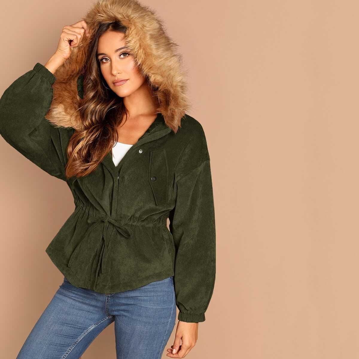 High Low Corduroy Parka Coat With Faux Fur Hoodie in Army Green by ROMWE on GOOFASH