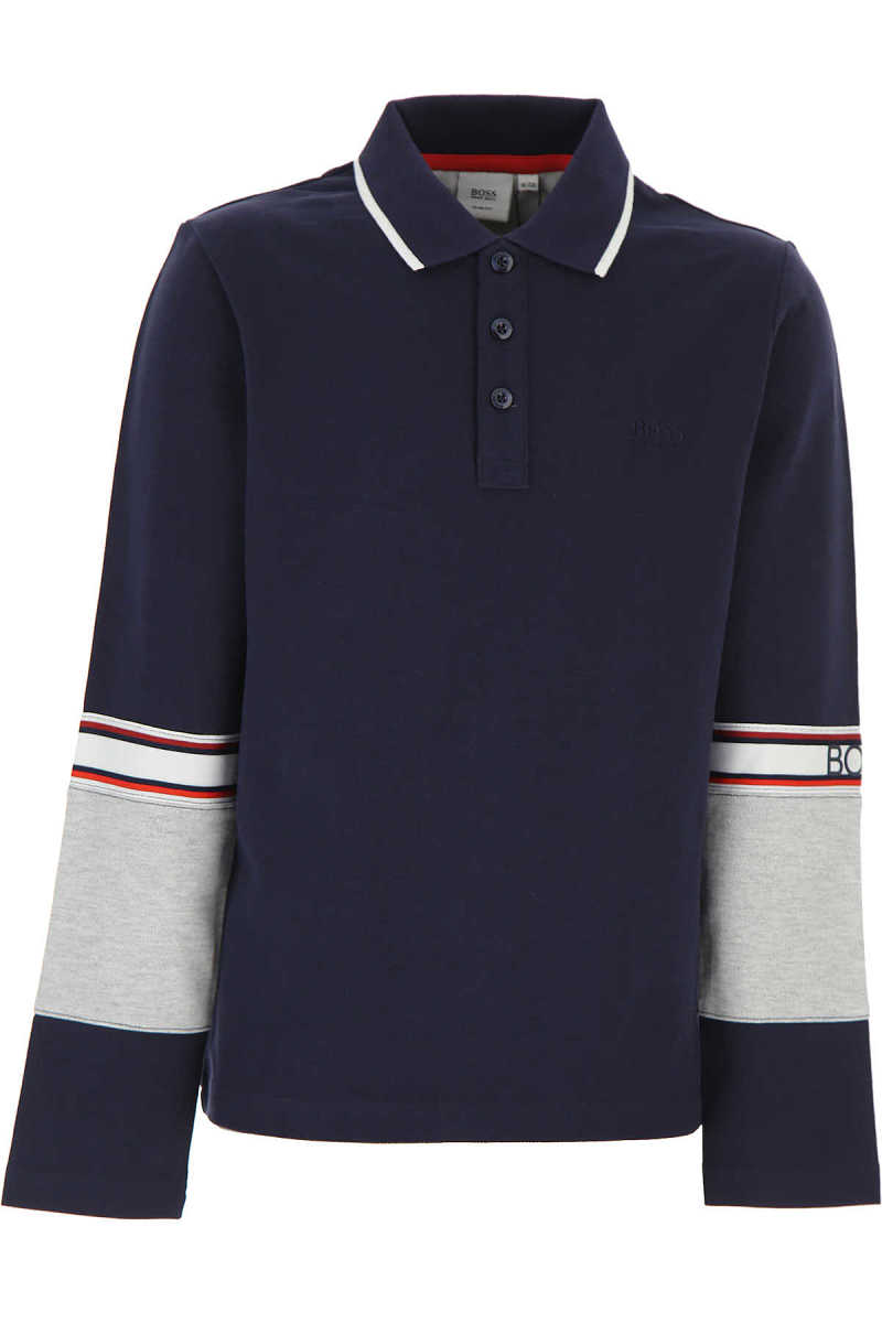 Hugo Boss Kids Polo Shirt for Boys Blue USA - GOOFASH