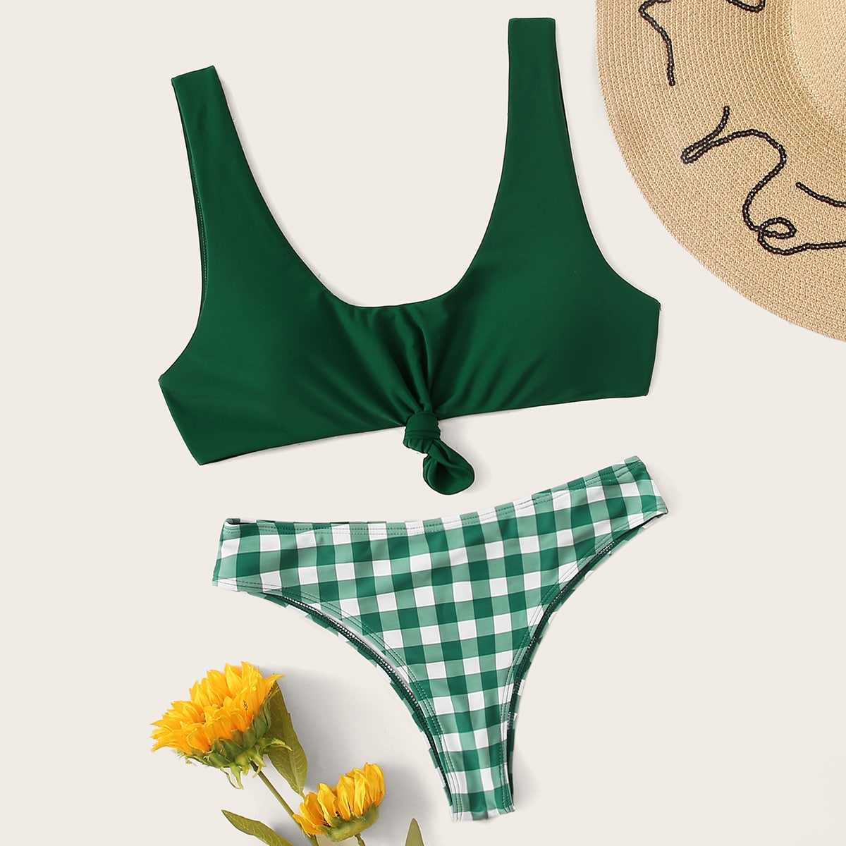 Knot Front Top With Gingham  Bikini Set in Green by ROMWE on GOOFASH