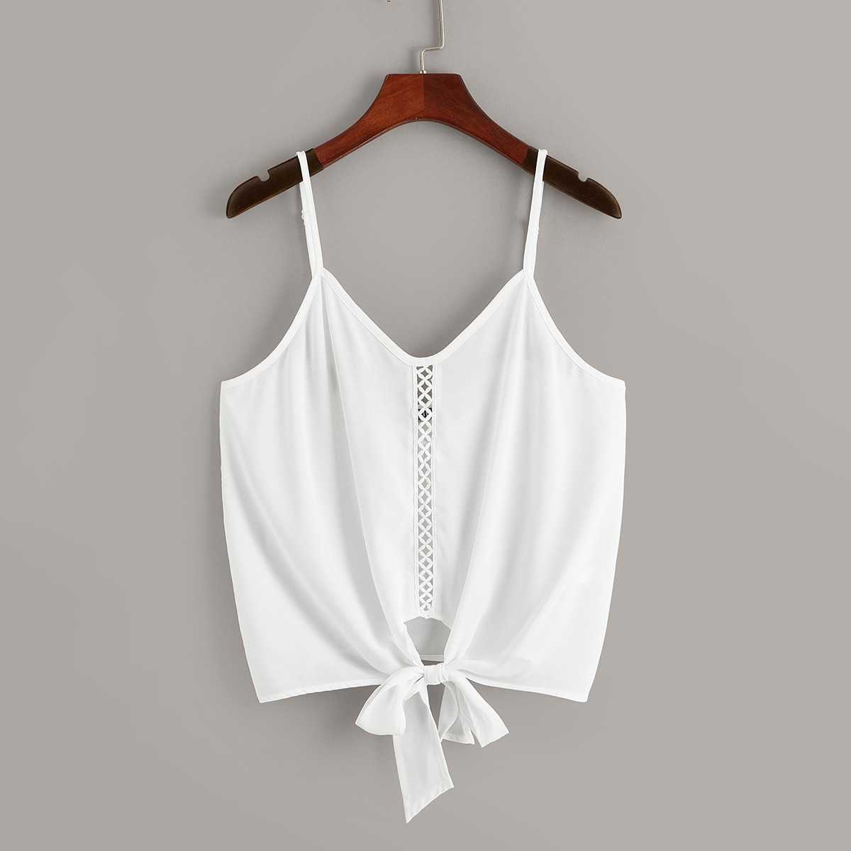 Lace Insert Knot Hem Cami Top in White by ROMWE on GOOFASH