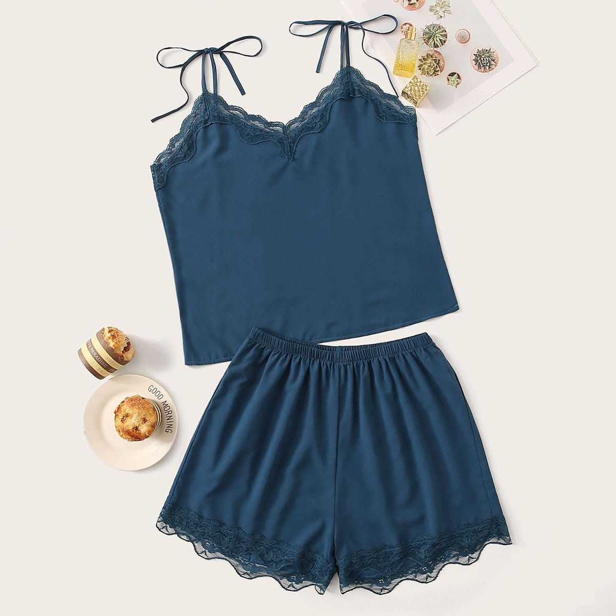 Lace Trim Cami Pajama Set in Blue by ROMWE on GOOFASH