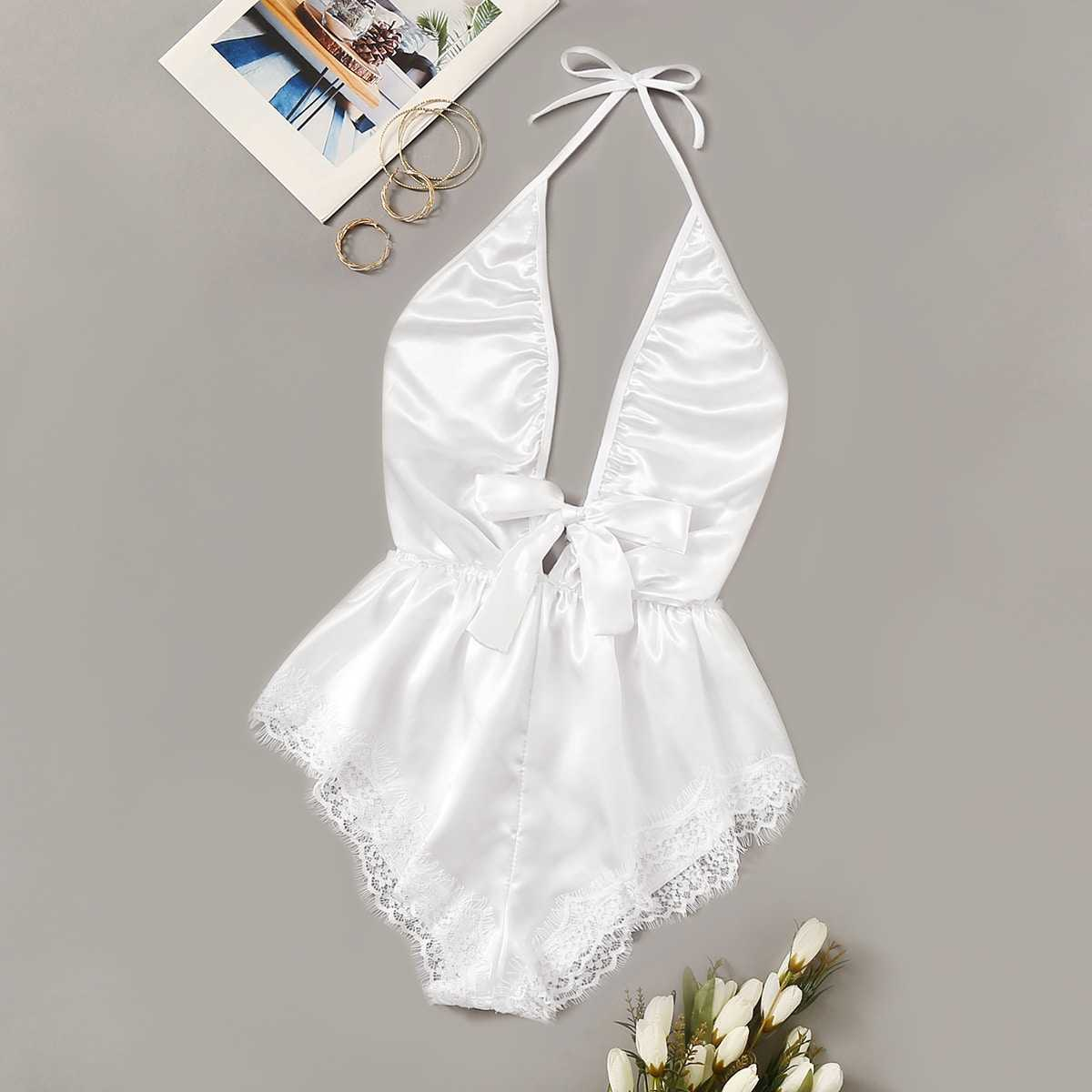 Lace Trim Satin Romper Bodysuit in White by ROMWE on GOOFASH