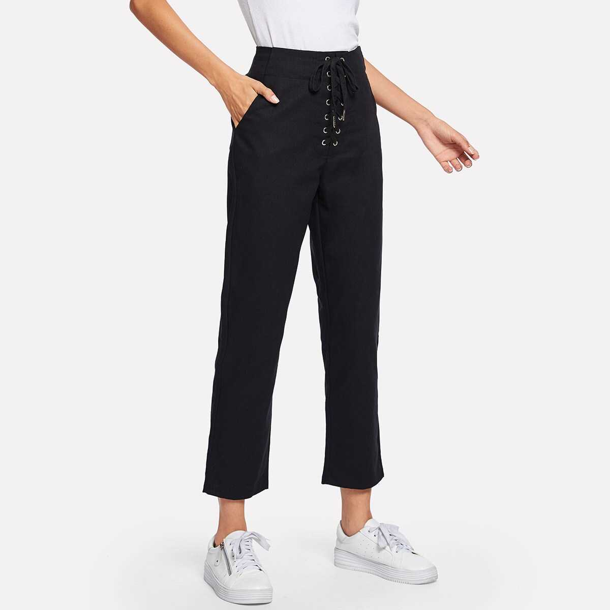 Lace Up Waist Solid Pants - Shein - GOOFASH