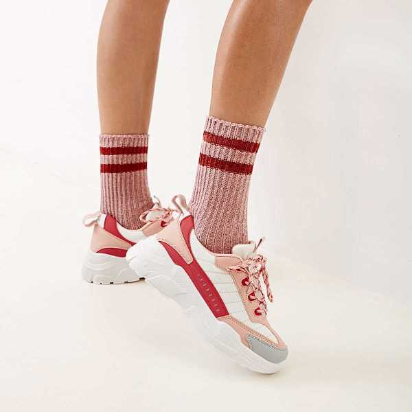 Lace-up Front Chunky Sole Trainers in Pink by ROMWE on GOOFASH
