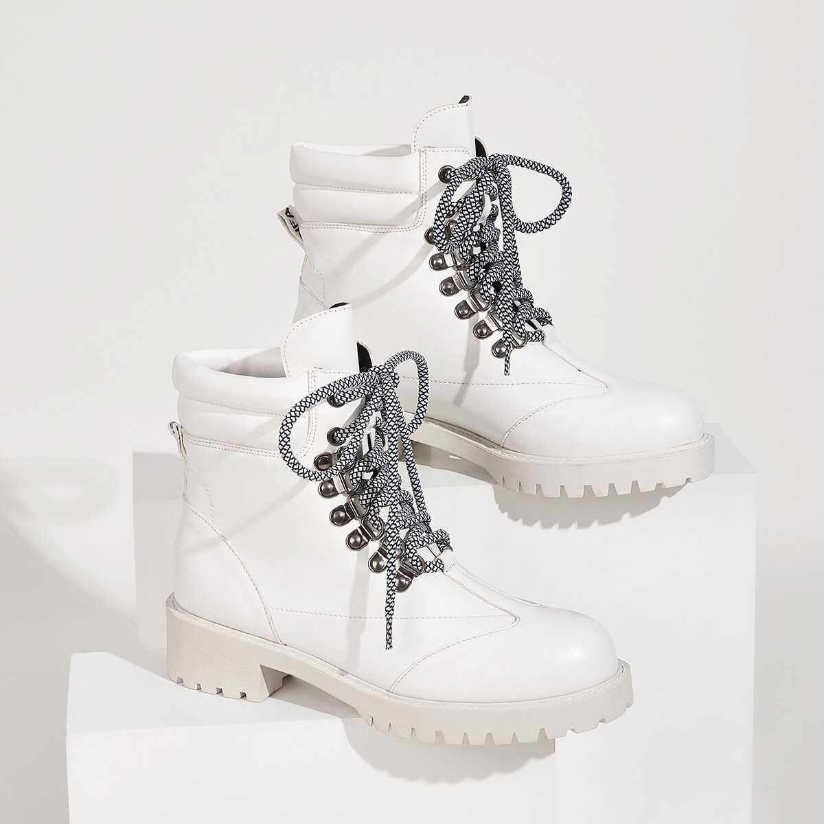Lace-up Front Combat Boots in White by ROMWE on GOOFASH