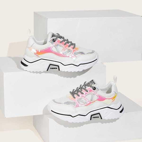 Lace-up Front Holographic Panel Trainers in Multicolor by ROMWE on GOOFASH