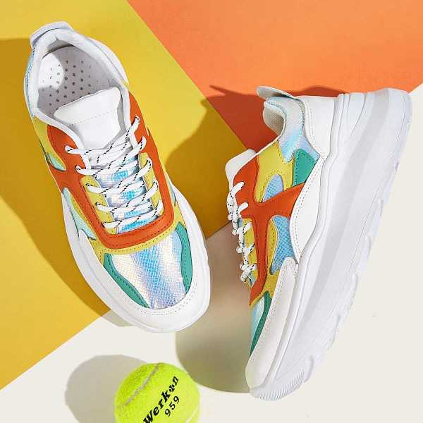 Lace-up Front Iridescent Panel Trainers in Multicolor by ROMWE on GOOFASH