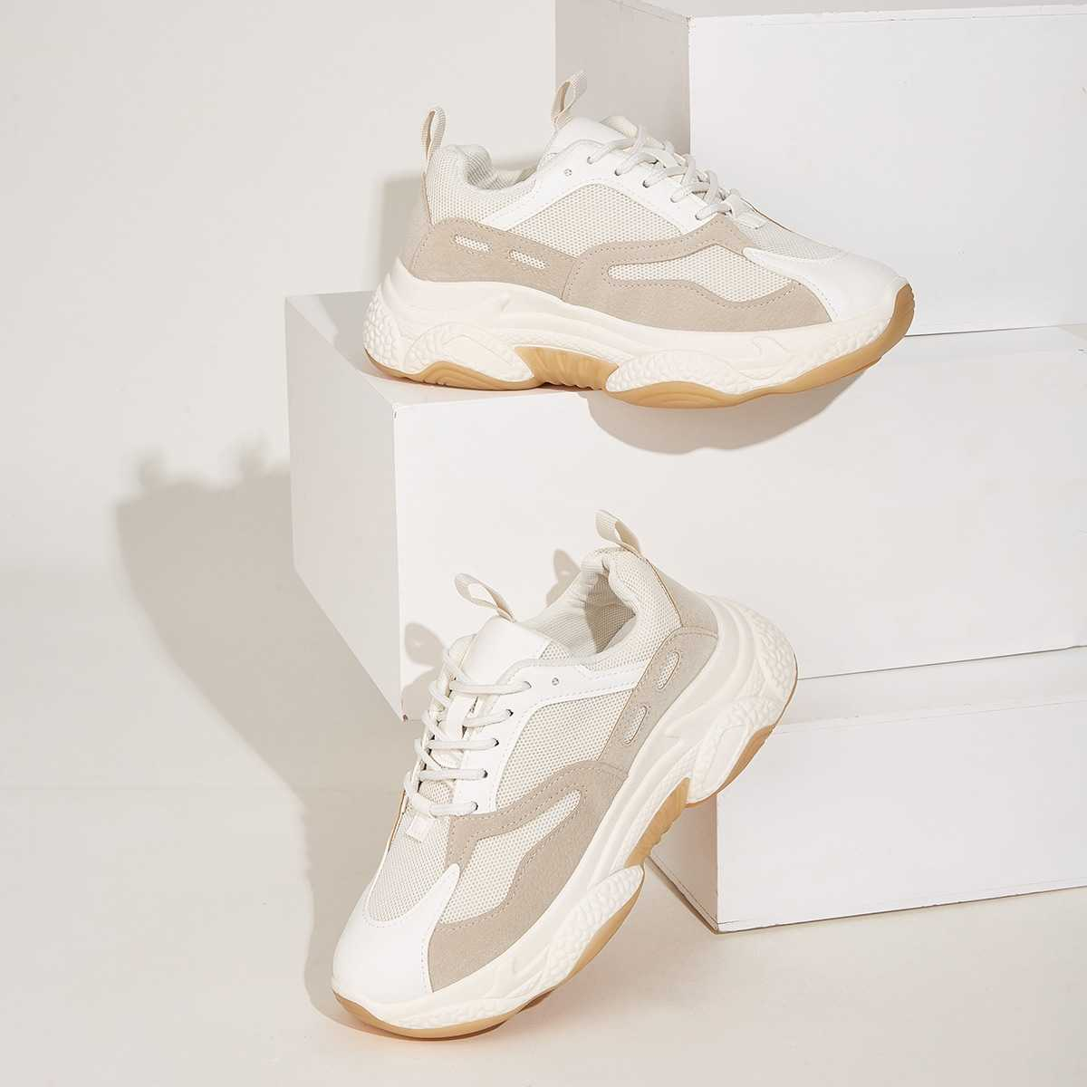 Lace-up Front Mesh Trainers in Beige by ROMWE on GOOFASH