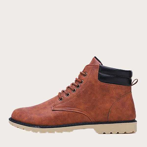 Lace-up Front Tooling Boots in Brown by ROMWE on GOOFASH