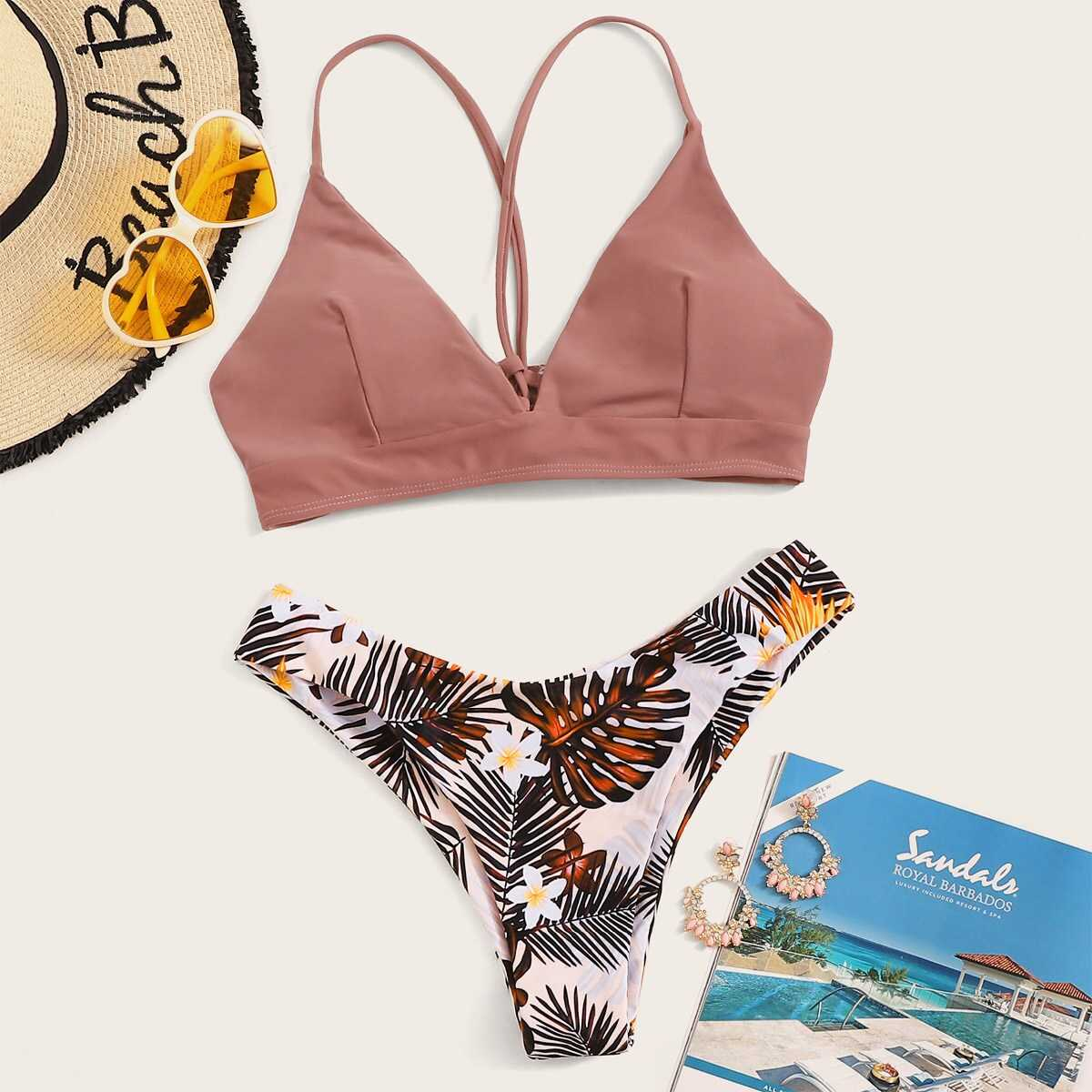 Lace-up Triangle Top With Tropical Bikini Set in Multicolor by ROMWE on GOOFASH