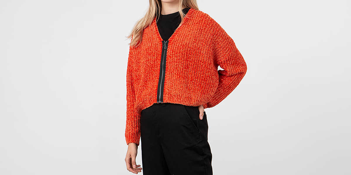 Lazy OAF Zip Up Cardigan Orange UK - GOOFASH
