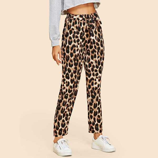 Leopard Print Self Tie Pants in Multicolor by ROMWE on GOOFASH