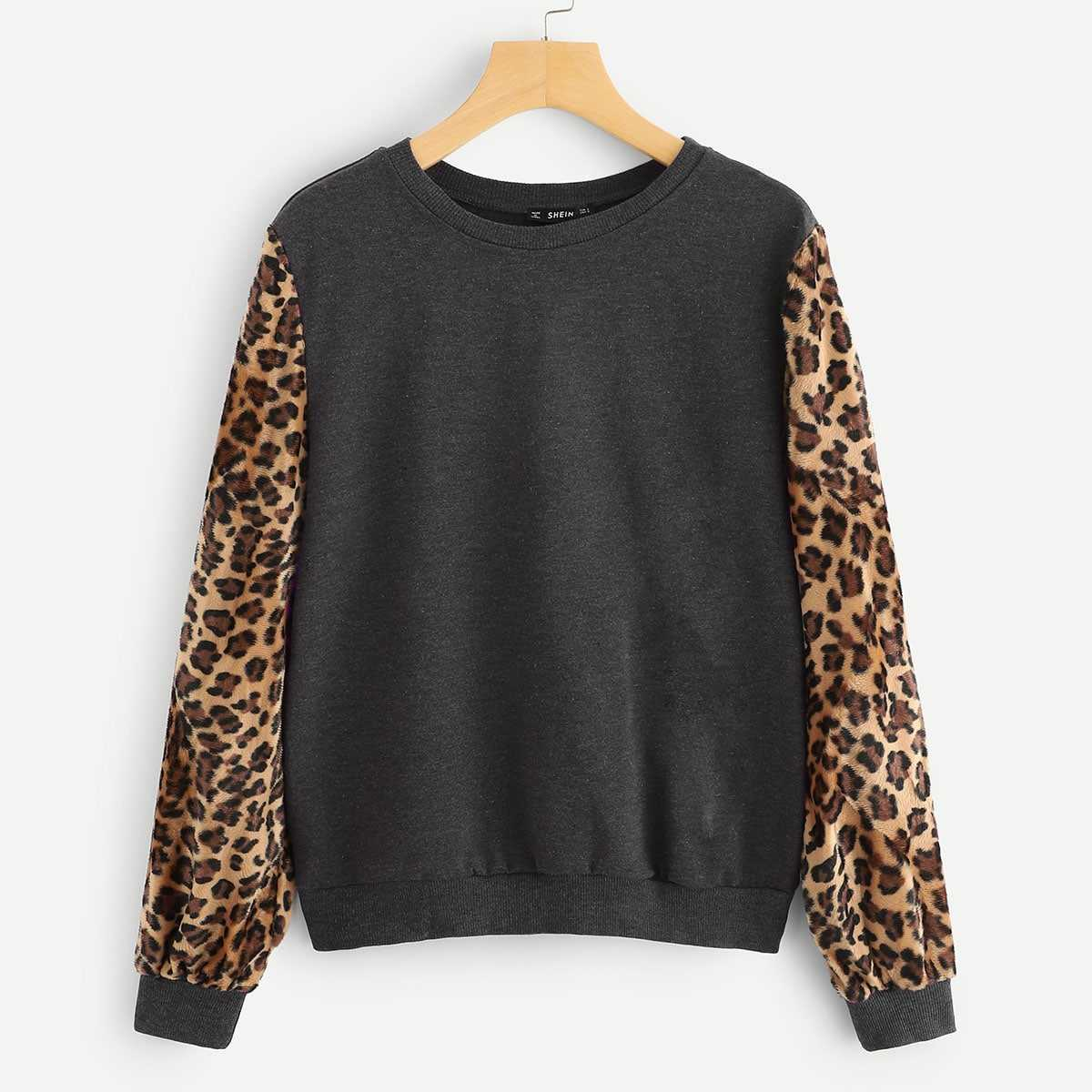 Leopard Sleeve Pullover in Grey by ROMWE on GOOFASH