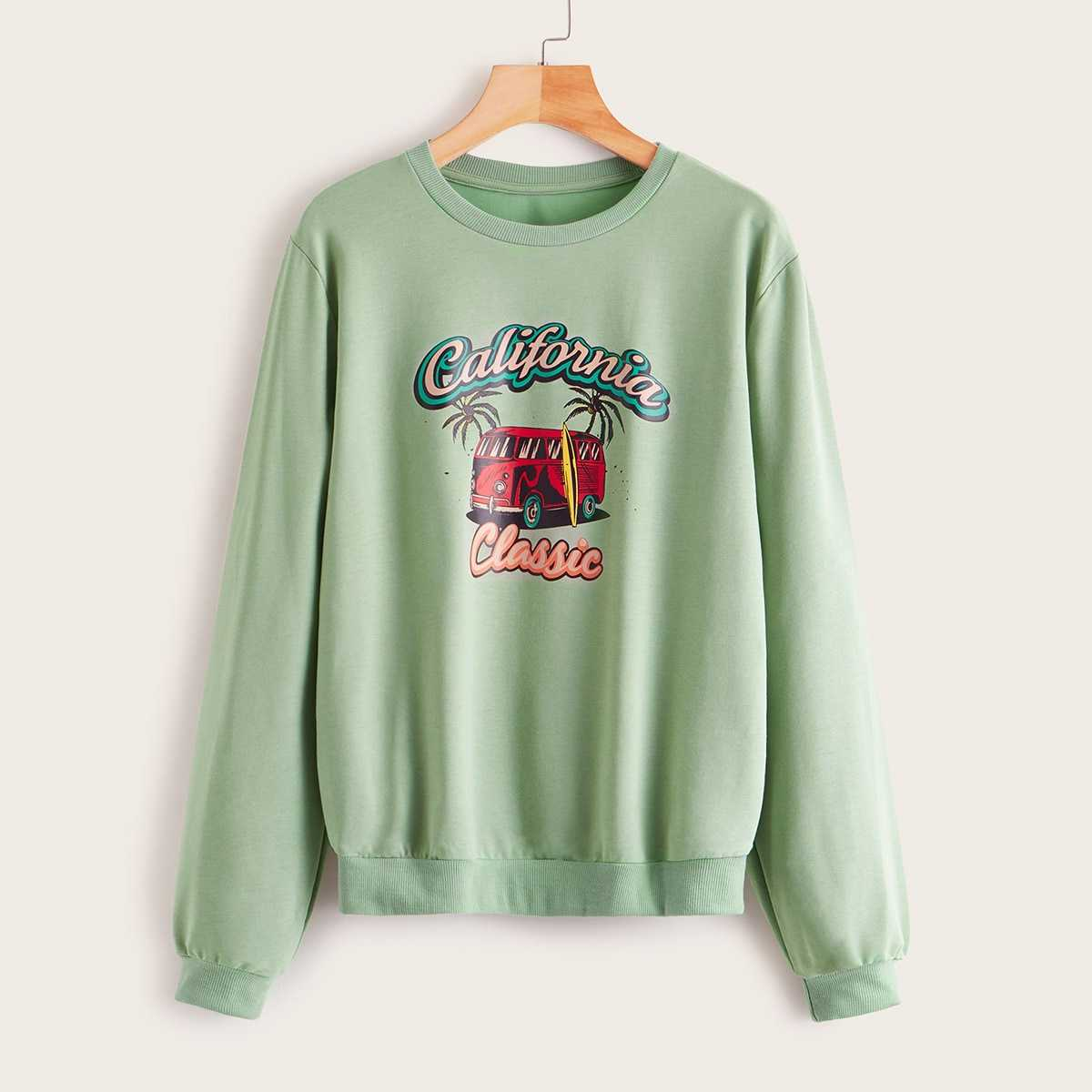 Letter And Car Print Sweatshirt in Green by ROMWE on GOOFASH