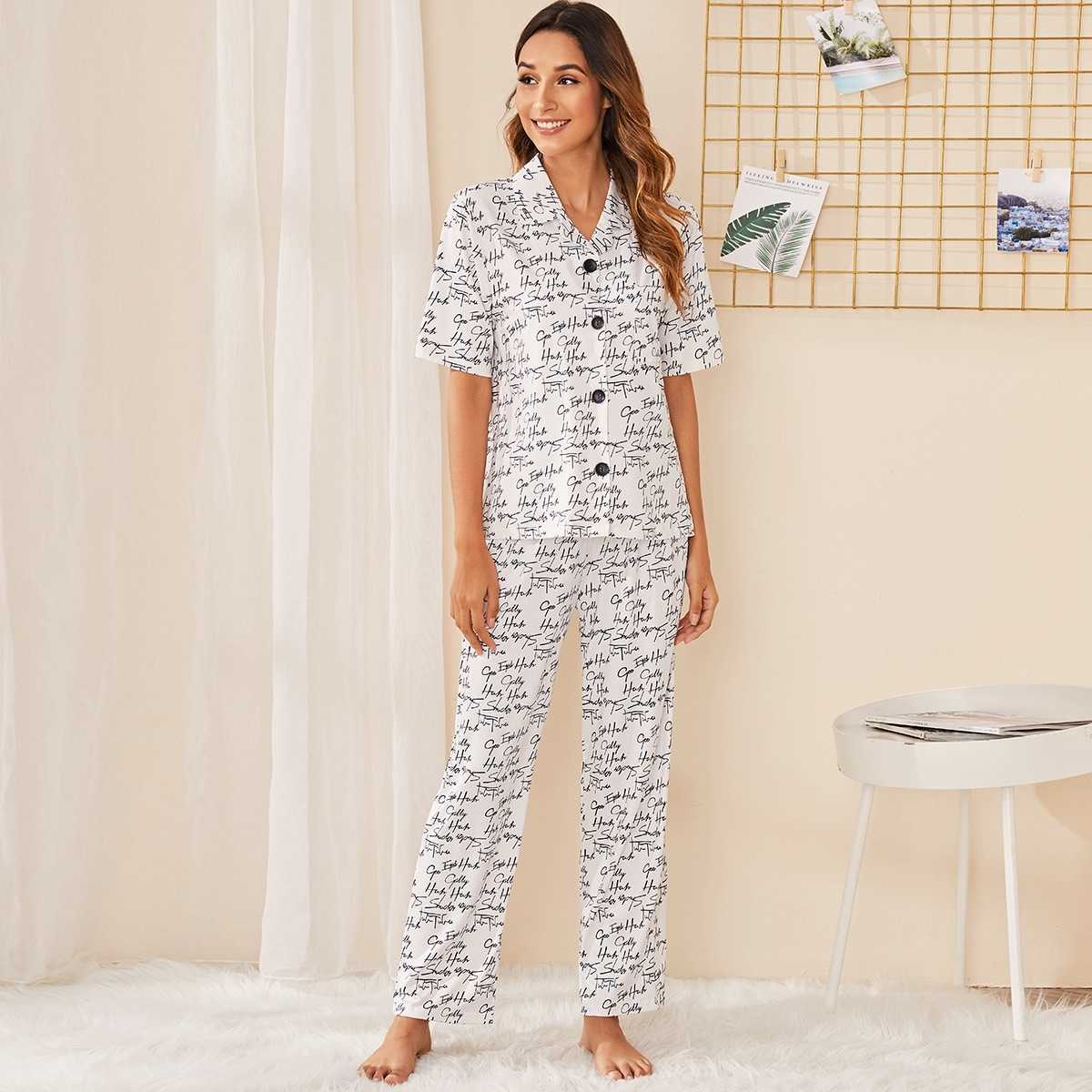 Letter Print Button-up Pajama Set in Black and White by ROMWE on GOOFASH