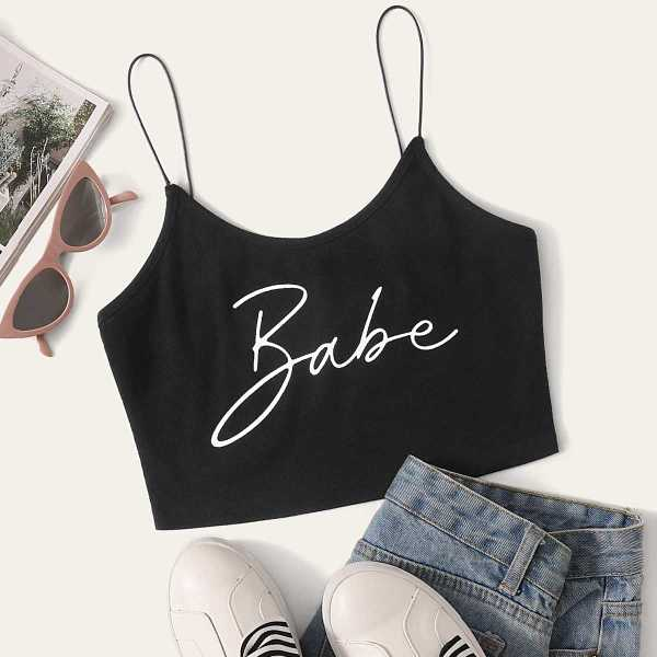 Letter Print Cami Crop Top in Black by ROMWE on GOOFASH