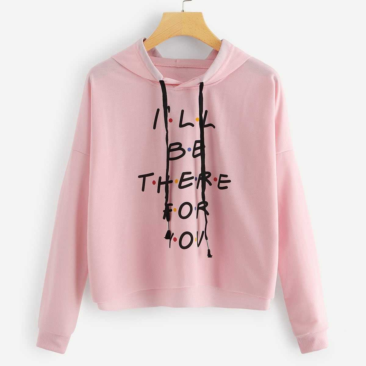 Letter Print Drawstring Hoodie in Pink by ROMWE on GOOFASH