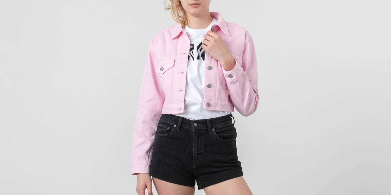 Levi's® Cropped Trucker Jacket Light Pink UK - GOOFASH