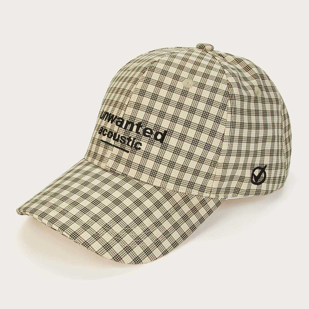 Men Gingham Pattern Baseball Cap - Shein - GOOFASH