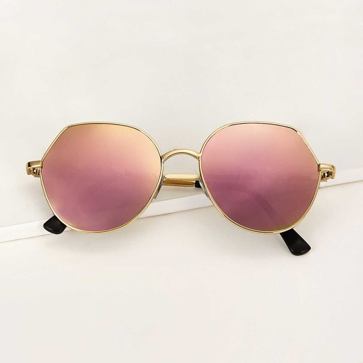 Metal Frame Mirror Lens Sunglasses in Multicolor by ROMWE on GOOFASH