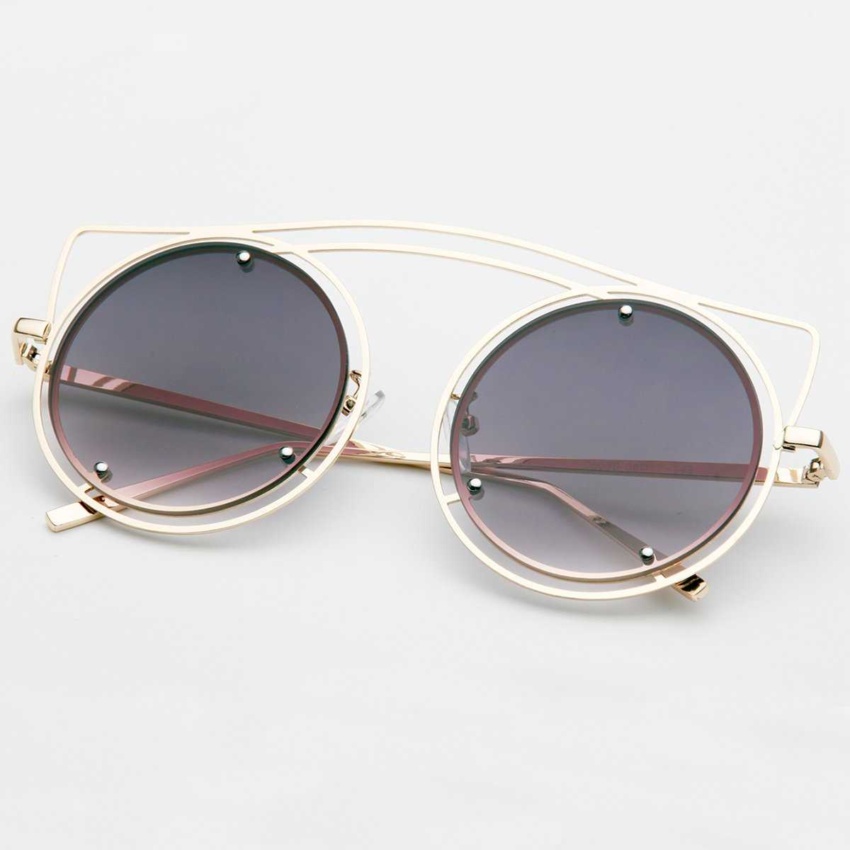 Metal Frame Round Lens Sunglasses in Grey by ROMWE on GOOFASH