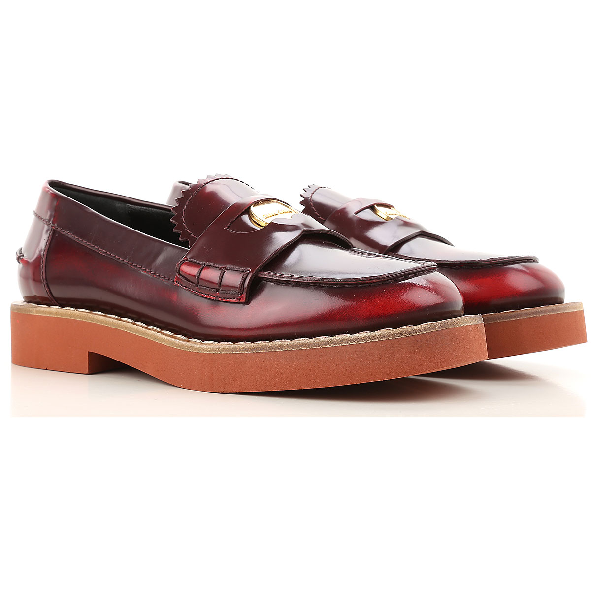 Miu Miu Loafers for Women in Outlet Red Scarlet USA - GOOFASH