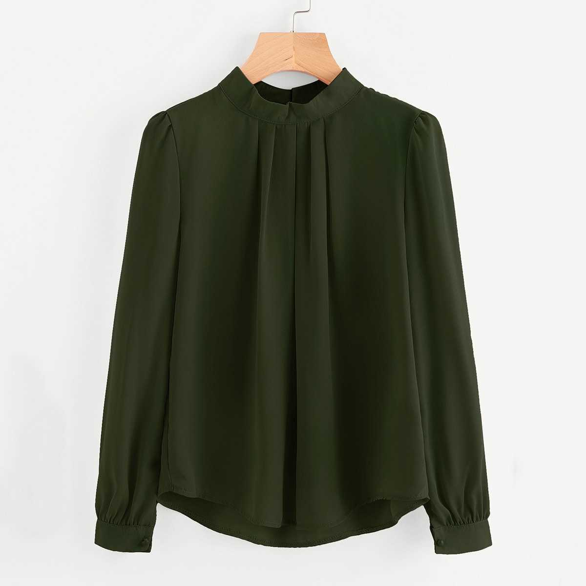 Mock Neck Pleated Detail Chiffon Blouse in Army Green by ROMWE on GOOFASH