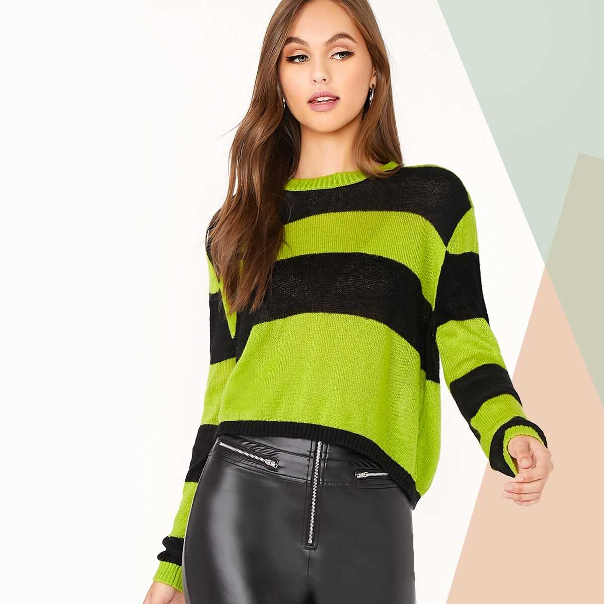 Mock Neck Striped Cut-and-sew Sweater in Multicolor by ROMWE on GOOFASH