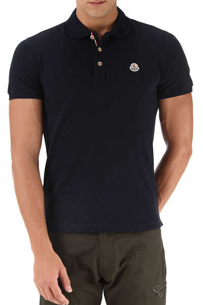 Moncler Polo Shirt for Men Navy Blue SE - GOOFASH