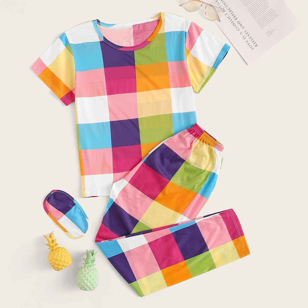 Multicolor Plaid Pajama Set With Eye Mask in Multicolor by ROMWE on GOOFASH