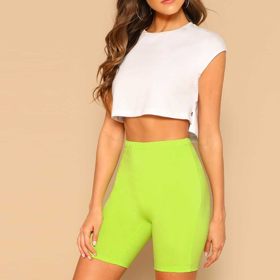Neon Lime Elastic Waist Leggings Shorts in Green Bright by ROMWE on GOOFASH