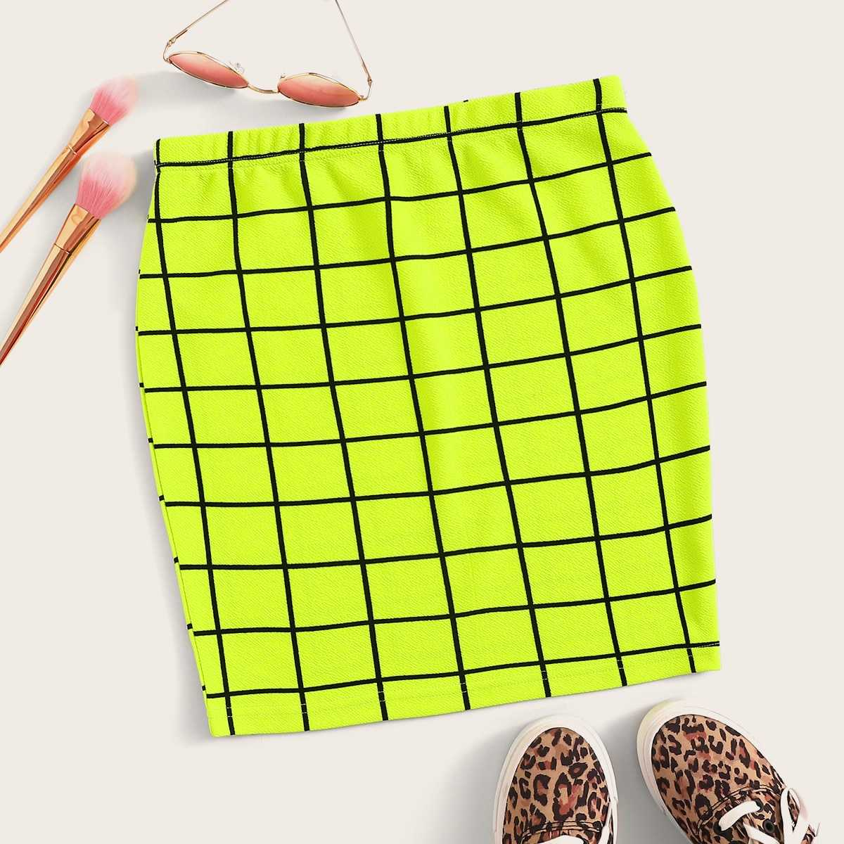 Neon Lime Grid Bodycon Skirt in Green Bright by ROMWE on GOOFASH