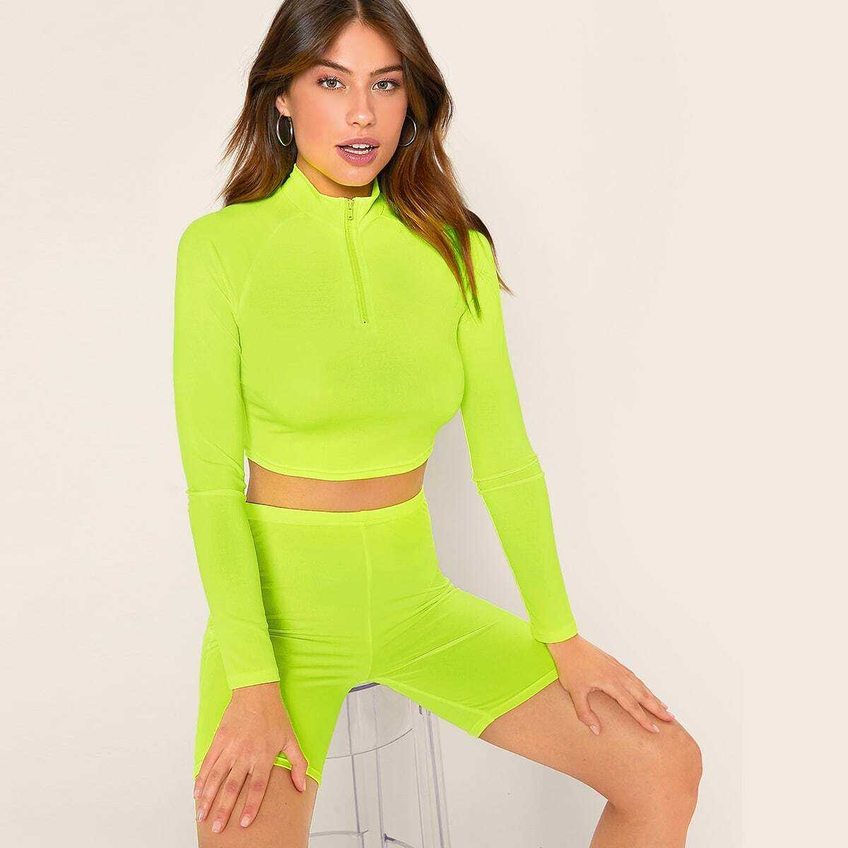 Neon Lime Half Zipper Front Crop Top & Cycling Shorts Set in Green Bright by ROMWE on GOOFASH