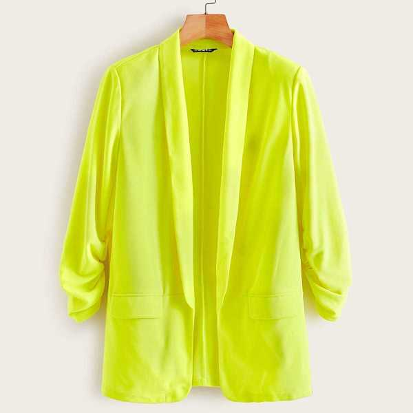 Neon Lime Shawl Collar Blazer in Green Bright by ROMWE on GOOFASH
