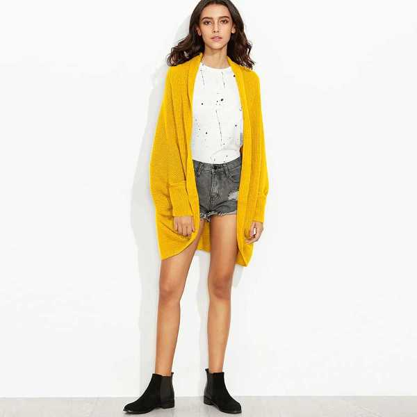 Neon Yellow Batwing Sleeve Cardigan in Yellow Bright by ROMWE on GOOFASH
