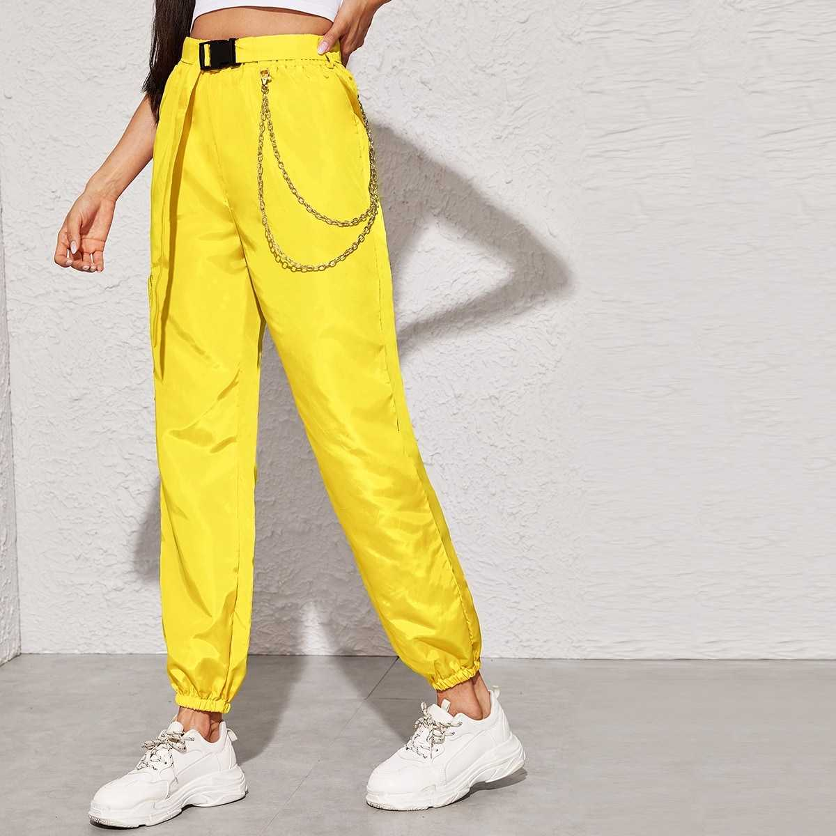 Neon Yellow Chain Detail Belted Cargo Pants in Yellow Bright by ROMWE on GOOFASH