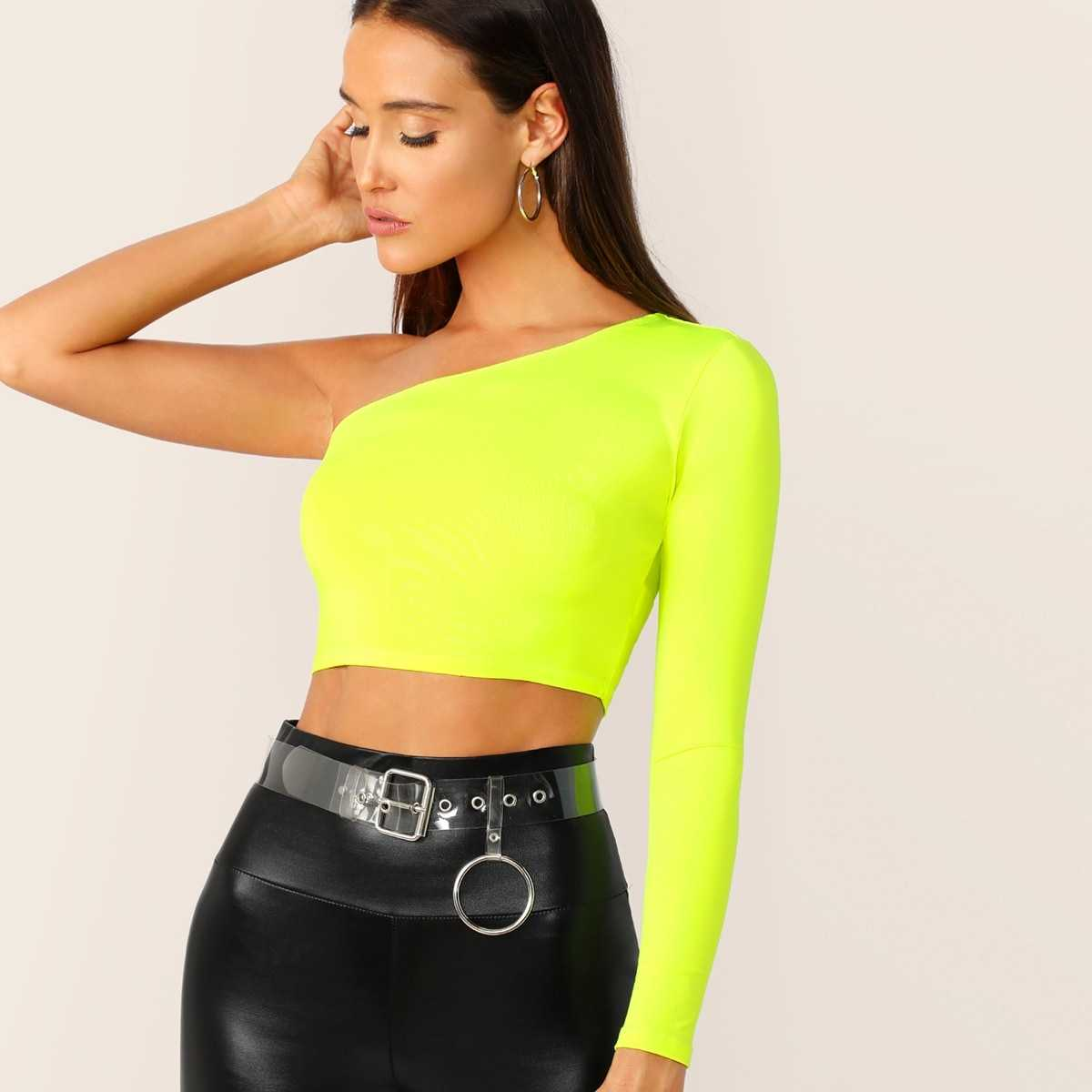 Neon Yellow One Shoulder Crop Tee in Yellow Bright by ROMWE on GOOFASH