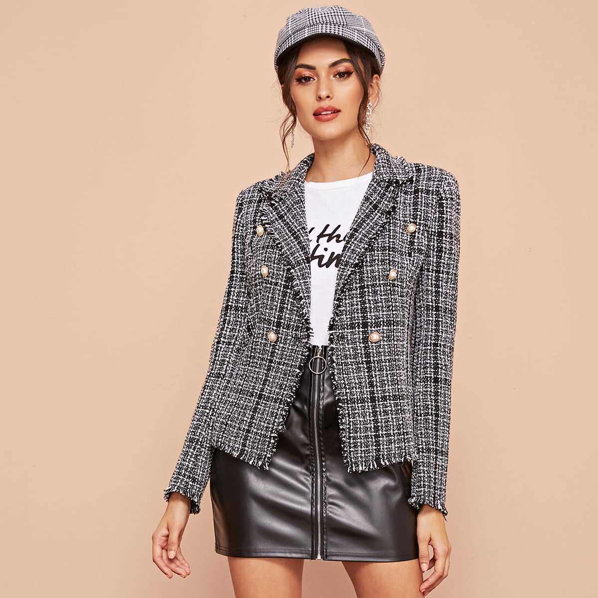 Notch Collar Double Breasted Front Tweed Blazer in Black and White by ROMWE on GOOFASH